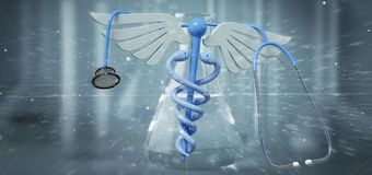 3d som redering medicinsk cadaceus och stetoskopet som isoleras på en läkare Royaltyfri Bild
