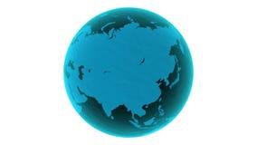 3D som roterar det glansiga ljusblå glass jord-jordklotet som framförs på vit bakgrund 4k som är loopable