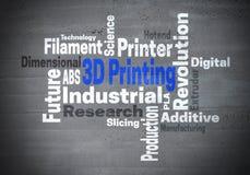 3d som skrivar ut för ordmoln för industriell revolution konzept Arkivbilder
