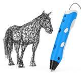 3d som skrivar ut Pen Print Abstract Horse framförande 3d Arkivfoton