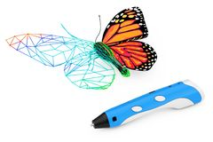 3d som skrivar ut Pen Print Abstract Wired Butterfly framförande 3d Arkivfoton
