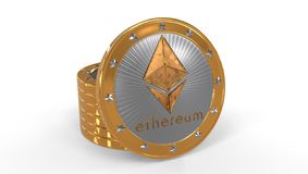 3D of some ethereum coins in a white bacground, 3d rendering. Ehtereum coins representation made with gold and silver in a white background Stock Photography