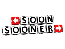3D Soon Sooner Button Click Here Block Text. Over white background Royalty Free Stock Images