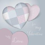 3D soporta en forma de un corazón con el remiendo Sombras azules y color de rosa sensuales Día de tarjeta del día de San Valentín stock de ilustración