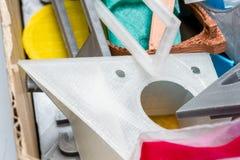 3D sottile ha stampato l'ingranaggio con gli strati visibili di plastica che è sostenibile Immagini Stock Libere da Diritti