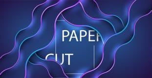 3D sottraggono il fondo con le forme del taglio della carta blu Vector la disposizione di progettazione per le presentazioni di a Fotografie Stock