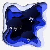 3d sottraggono il illlustration del taglio della carta del bullone delle nuvole, della tempesta e di fulmine Modello variopinto d illustrazione vettoriale