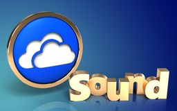 3d 'sound' sign blank. 3d illustration of clouds symbol over blue gradient background with 'sound' sign Stock Image