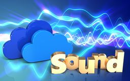 3d 'sound' sign clouds. 3d illustration of clouds over sound waves blue background with 'sound' sign Royalty Free Stock Photos