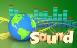 3d 'sound' sign earth globe. 3d illustration of earth globe over green background with 'sound' sign Stock Photos