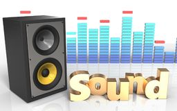 3d 'sound' sign sound system Royalty Free Stock Photography