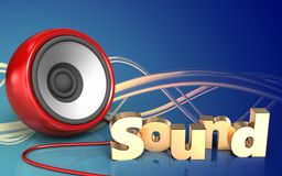 3d 'sound' sign speaker Stock Photography