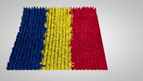 3d sound wave chart textured with the Romanian flag