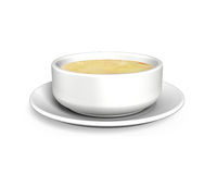 3D Soup bowl with tray Stock Photo