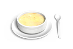 3D Soup bowl with tray and spoon Stock Photography