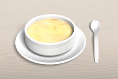 3D Soup bowl with tray and spoon Royalty Free Stock Photos