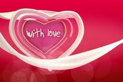 3d soustraient le coeur de l'amour sur le fond de gradient Photographie stock libre de droits