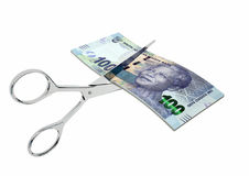3D South African Currency with pairs of Scissors Royalty Free Stock Photography