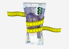 3D South African Currency with Measure tape Stock Image