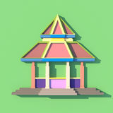 3D of south-east Asian pavilion or temple front view. 3D elevation of south-east Asian pavilion or temple front view in artistic design Stock Image
