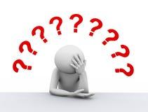 3d spęczenia mężczyzna i znaki zapytania ilustracyjni Obraz Stock