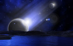 3D space background. 3D abstract space background with stars and fictional planets Royalty Free Stock Images