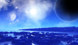 3D space background with alien landscape. 3D render of a fictional space background with alien landscape Stock Image