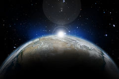 3D space background. Space background with Earth and nebula in starry sky - elements of this image furnished by NASA Stock Illustration