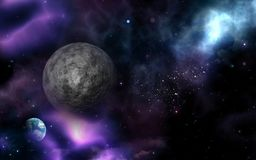 3D space background with fictional moon and planet. 3D render of a space background with fictional moon and planet Stock Images