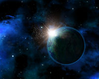 3D space background with fictional planet. 3D space themed background with fictional planet Stock Images