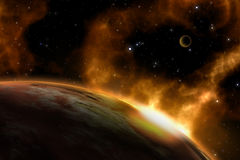 3D space background. With fictional planets Royalty Free Stock Photos