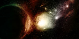 3D space background. With fictional planets and nebula Royalty Free Illustration