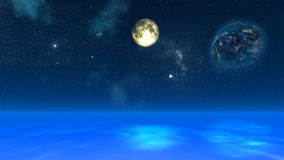 3D space background with fictional planets Stock Photo