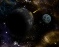 3D space background. With fictional planets and shooting star Royalty Free Stock Photography