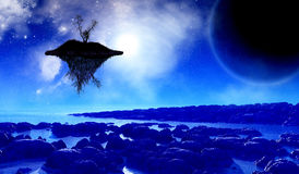 3D space background with floating island in the sky. 3D render of a fictional space background with a floating island in the sky Stock Photography