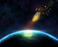 3D space background with meteorite. Space scene background with blazing meteorite about to hit a fictional planet Stock Image