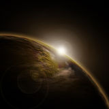 3D space background. With sun rising behind fictional planet vector illustration