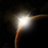 3D space background. With sun rising behind fictional planet Stock Illustration