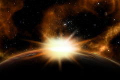 3D space background. With the sun rising over a fictional planet stock illustration