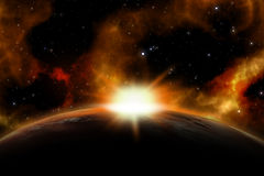 3D space background. With the sun rising over a fictional planet Royalty Free Illustration