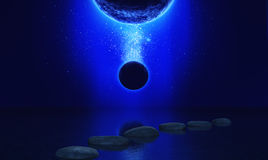 3D space landscape with stepping stones in the ocean. 3D render of a space landscape with stepping stones in the ocean and fictional planets Royalty Free Stock Image