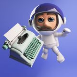 In 3d space, no one can hear the 3d astronaut type. On his typewriter stock illustration