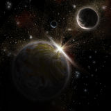 3D Space scene. 3D space background with fictional planets Royalty Free Stock Photography