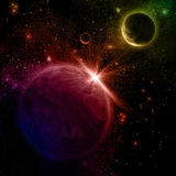 3D Space scene. 3D space background with fictional planets Royalty Free Stock Images