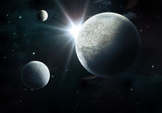 3D space scene. Space scene with fictional planets and nebula Stock Photos