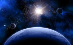 3D space scene. With fictional planets and stars Royalty Free Stock Photo