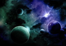 3D Space sky background. Space background with nebula and fictional planets Stock Images