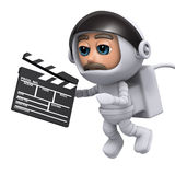 3d Spaceman makes a movie Royalty Free Stock Images