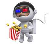 3d Spaceman at the movies Royalty Free Stock Photography
