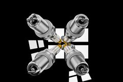 3D Spare parts spark plugs on black background for car and motorcycle vector illustration